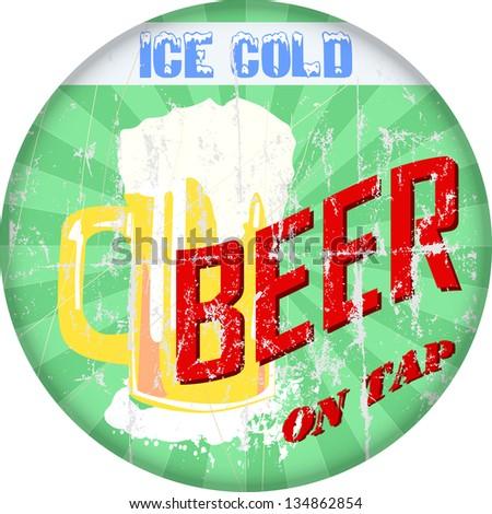 vintage beer / bar sign, vector illustration - stock vector