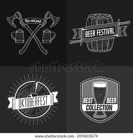 Vintage Beer Brewery set. Template for design - stock vector