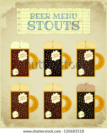 Vintage Beer Card. Stouts with place for Price, lettering type of beer, foam heights and strength - alcohol content. Vector Illustration. - stock vector