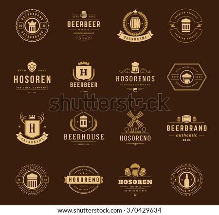 Vintage Beer Logos Set. Vector design elements, Beer Labels, Beer Vector, Beer Bottle, Beer Icons, Beer Symbols. Retro Logos. Vintage Labels. Logo elements, Logo icons. Mug, Hop, Pint, Bar, Pub Logo. - stock vector