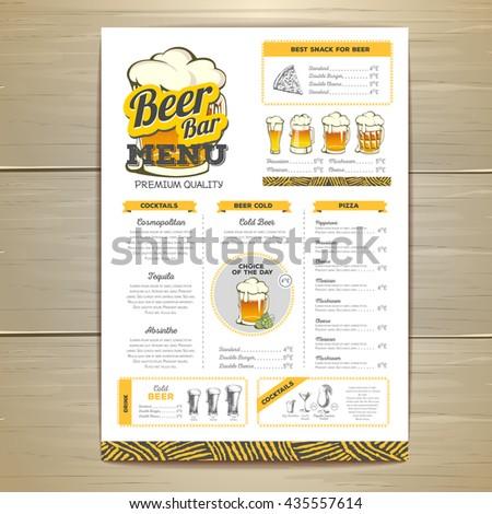 Vintage beer menu design.  - stock vector