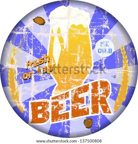 vintage beer, pub, bar sign, weathered, vector illustration - stock vector