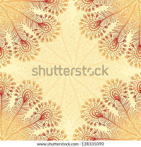 Vintage beige abstract doodle peacock feathers background