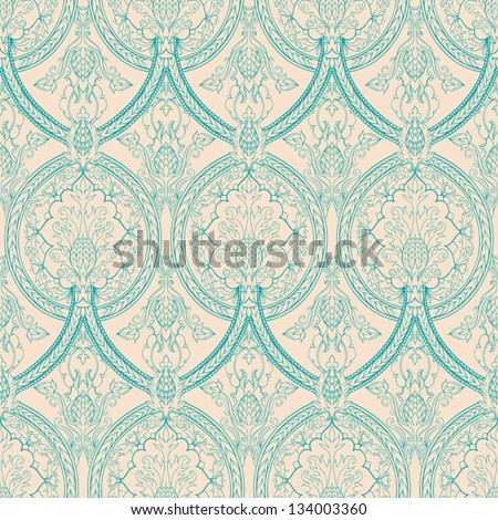 vintage beige and turquoise floral seamless pattern with pineapples. vector illustration - stock vector