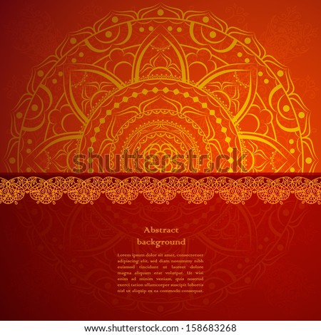 Vintage beige doodle ornament in Indian style background - stock vector