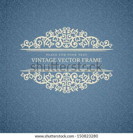 Vintage Beige Frame on Blue Retro Background - stock vector