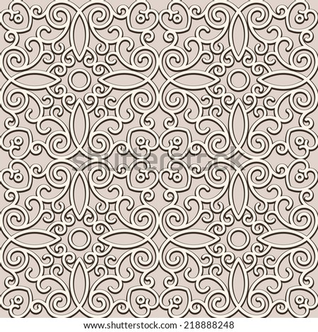 Vintage beige vector background, curly ornament, damask seamless pattern  - stock vector