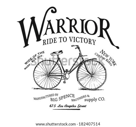 vintage bicycle illustration with type - stock vector