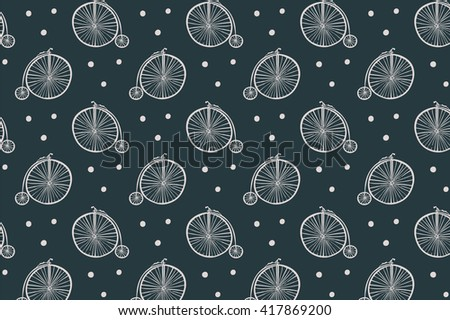 vintage bicycle pattern - stock vector