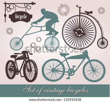 Vintage bicycle silhouettes set - stock vector