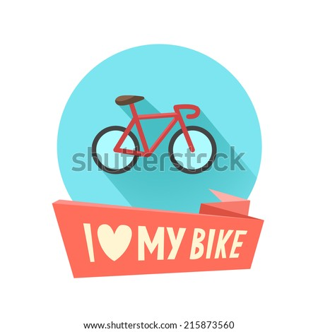 Vintage bike icon in flat design and I love my bike ribbon or place for other text. Vector illustration isolated on white - stock vector