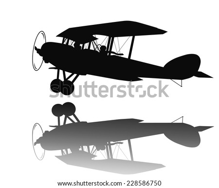 Vintage biplane taking off. Detailed vector silhouette - stock vector