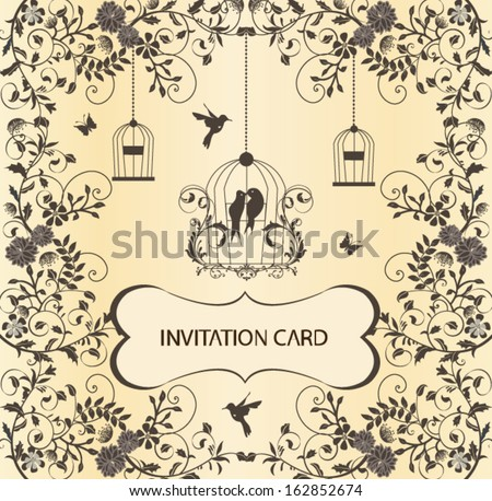 vintage birdcage wedding invitation card