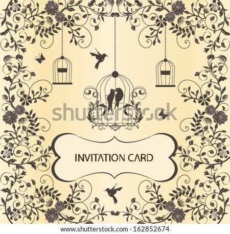 vintage birdcage wedding invitation card - stock vector