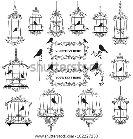 Vintage birds and birdcages collection - stock vector