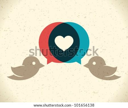 Vintage birds and heart set. Vector design element. - stock vector