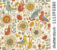 Vintage birds in retro flowers. Seamless pattern in vector - stock vector