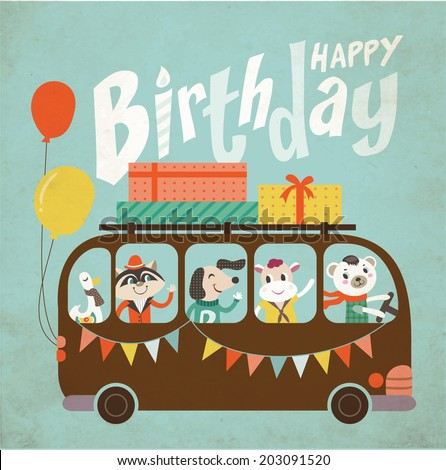 Vintage birthday card - stock vector