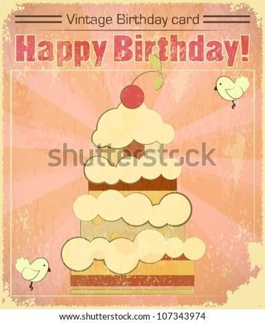 Vintage birthday card with big berry cake in retro style - vector illustration - stock vector