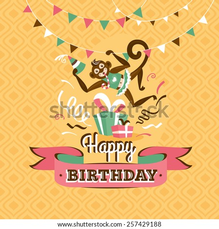 Vintage birthday greeting card with a monkey on a geometric retro background - stock vector