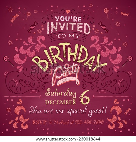 Birthday Party Invitation Boarding Pass Ticket Vector – Party Invitation Card Design