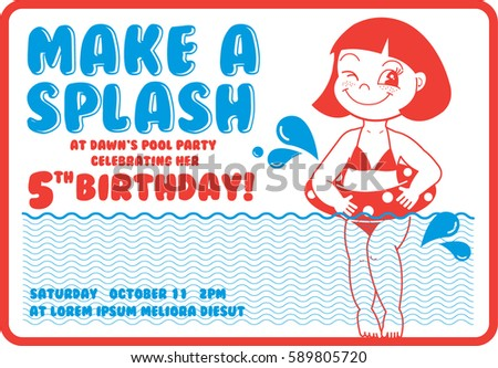 Pool Party Invitation Images RoyaltyFree Images Vectors – Birthday Pool Party Invitation