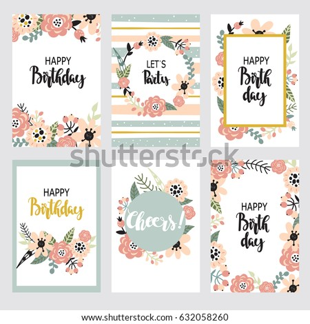 Vintage birthday set design template with abstract flowers and hand-written text. Collection of beautiful greeting cards in the Doodle style.