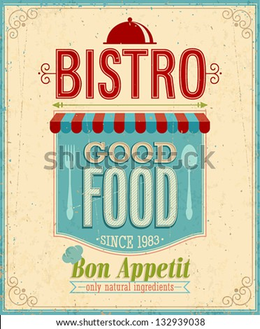 Vintage Bistro Poster. Vector illustration. - stock vector