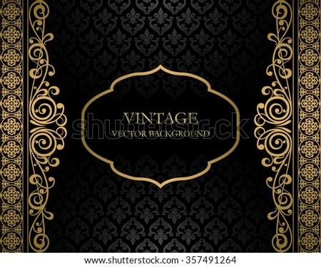 Vintage black and golden vector background - stock vector