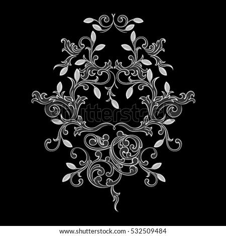 vintage baroque ornament floral motif retro stock vector. Black Bedroom Furniture Sets. Home Design Ideas