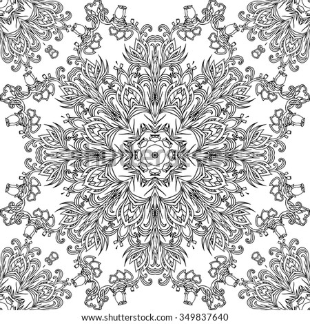 Vintage black and white seamless texture with a floral pattern for your design - stock vector