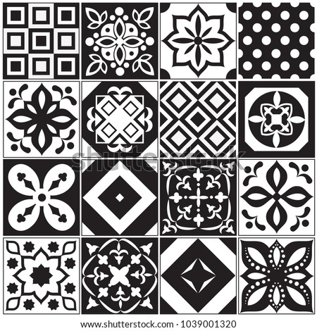 Vintage Black White Traditional Ceramic Floor Stock Vector ...