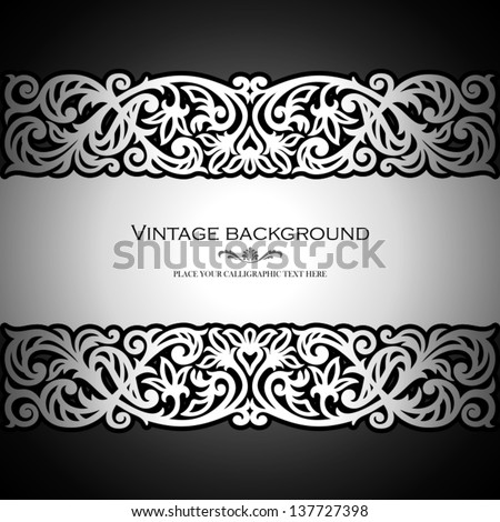 Vintage black background, antique, victorian silver ornament, baroque frame, beautiful old paper, card, ornate cover page, label; floral luxury ornamental pattern template for design - stock vector