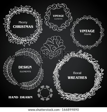 Vintage  black chalkboard wreaths, vignettes, frames set, drawing doodle style, ornamental, cute calligraphic design elements, creative decorations, retro decor, grunge floral patterns templates  - stock vector