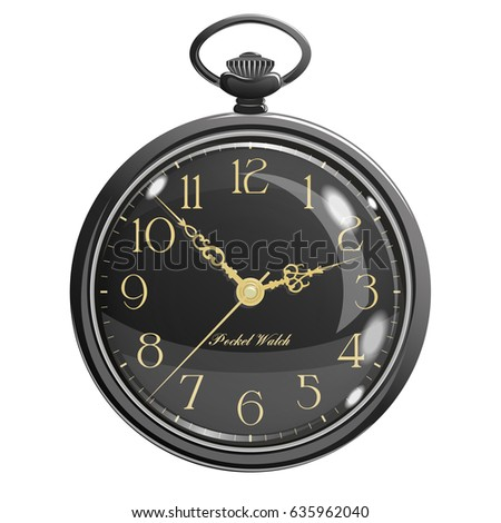 Vintage Black Pocket Watch With Transparent Glass And A Gold Dial Luxurious