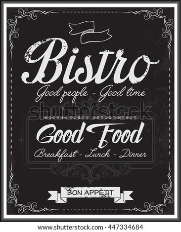 Vintage black school board bistro menu - stock vector