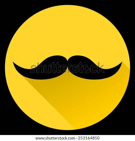 Vintage black silhouette of hipster curly mustaches - web icon in circle frame. fashion concept, flat and shadow theme design sign, vector art image illustration, isolated on yellow background, eps10 - stock vector