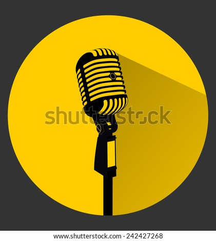 Vintage black silhouette retro stage microphone - web icon in circle frame. old technology concept, flat and shadow theme design sign, vector art image illustration, isolated on yellow background - stock vector