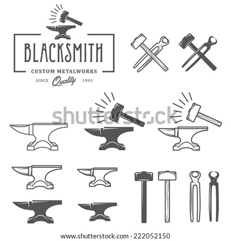 Vintage blacksmith labels and design elements - stock vector
