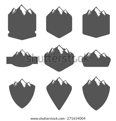 Vintage blank badges with mountains  - stock vector