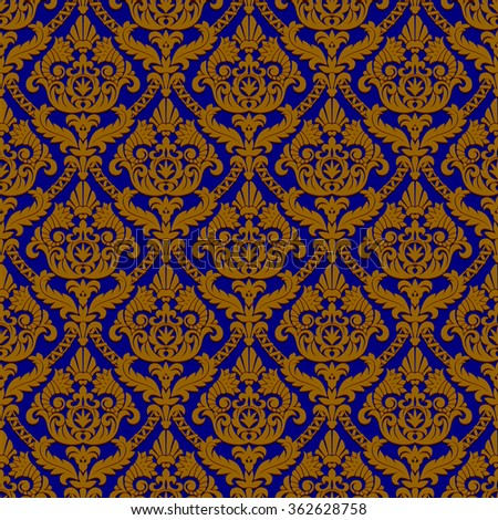 Vintage blue and brown seamless pattern background.  Vector illustration - stock vector
