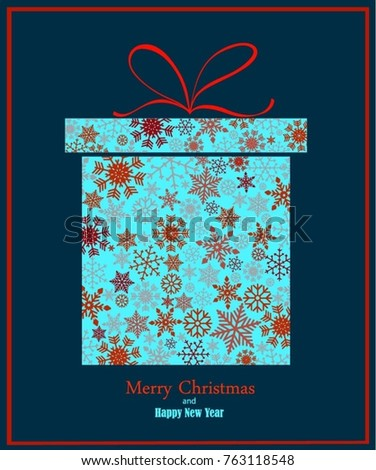 Vintage Blue and red Christmas card with gift box, reindeer, balls, gift boxes, snow on white background. EPS10 vector file. Snowflakes, stars with text Merry Christmas. Frame for a Christmas card