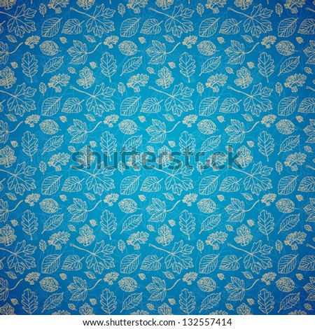 Vintage blue background with hand drawn tree leaves. Seamless pattern. Vector illustration - stock vector