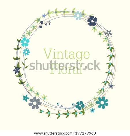 Vintage Blue Floral Wreath - stock vector