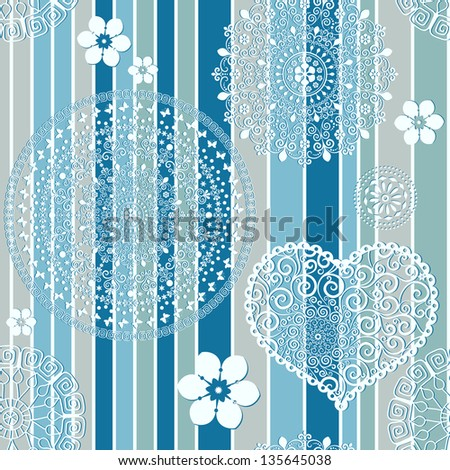 Vintage blue-gray striped seamless pattern with white lacy circles and heart and flowers (vector) - stock vector
