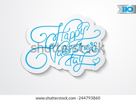 Vintage blue inscription Happy Valentine's Day - stock vector