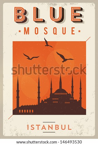 Vintage Blue Mosque Istanbul Poster - stock vector