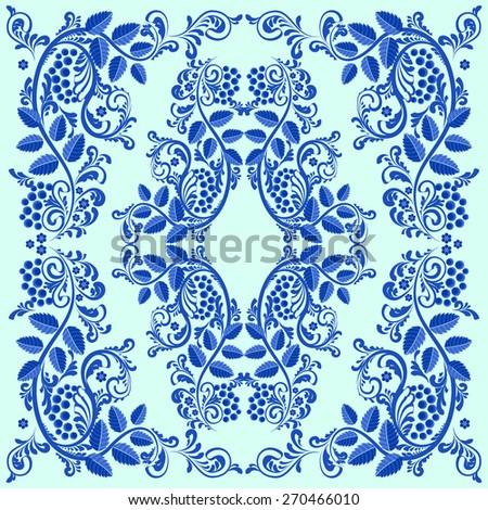 Vintage blue painted. Blue on a ligth background. Natural ornament. Frame. - stock vector