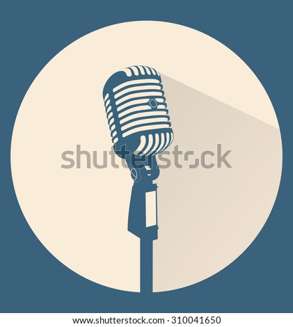 Vintage blue silhouette retro stage microphone - web icon in circle frame. old technology object concept, flat and shadow theme design sign, vector art image illustration, isolated on beige background - stock vector