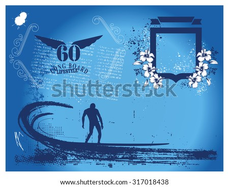 vintage blue summer frame with surfer and pipeline wave - stock vector